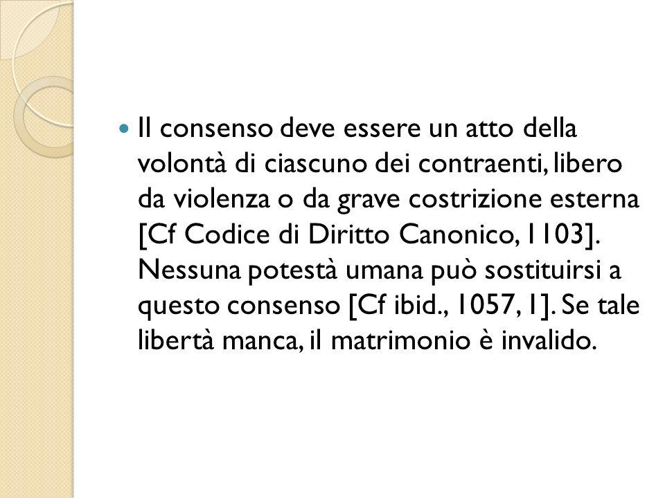 Il consenso deve essere un atto della volontà di ciascuno dei contraenti, libero da violenza o da grave costrizione esterna [Cf Codice di Diritto Canonico, 1103].